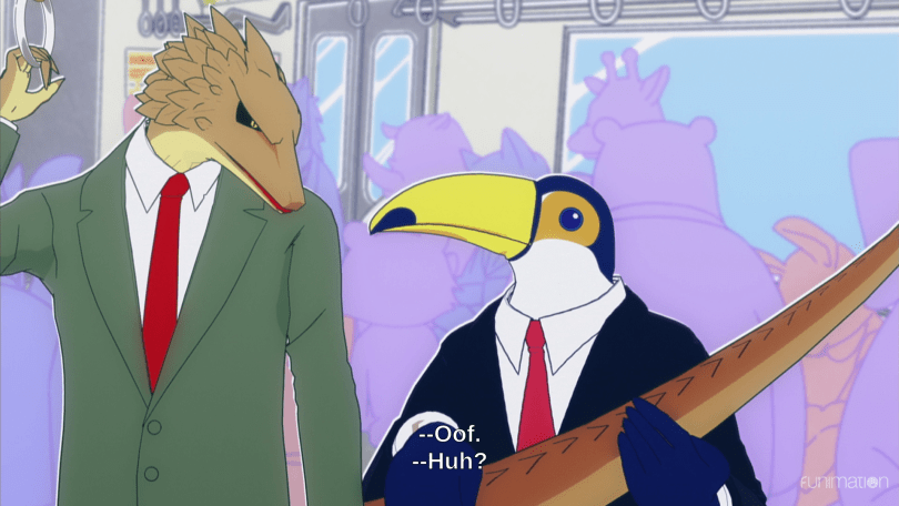 "Lizard and Toucan look at each other on a subway train. Subtitles read ""Oof"" and ""Huh?"""