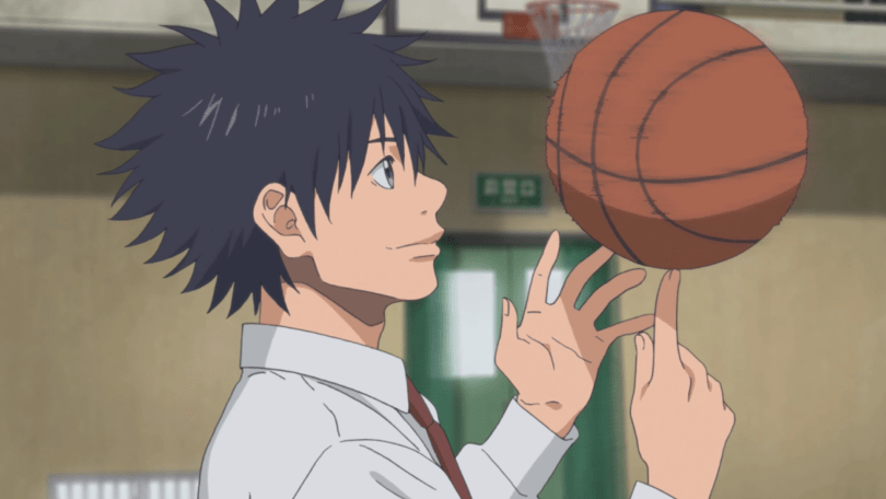 Sora spins a basketball on one finger.