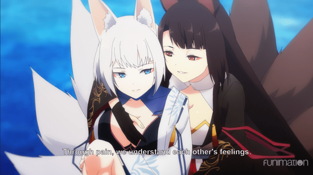 One foxgirl groping another. subtitle: Through pain, we understand each other's feelings
