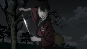 Rin drawing a sword