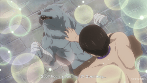 Genzo petting a blissed-out wolf man. subtitle: See? Feels good, right? Good boy...