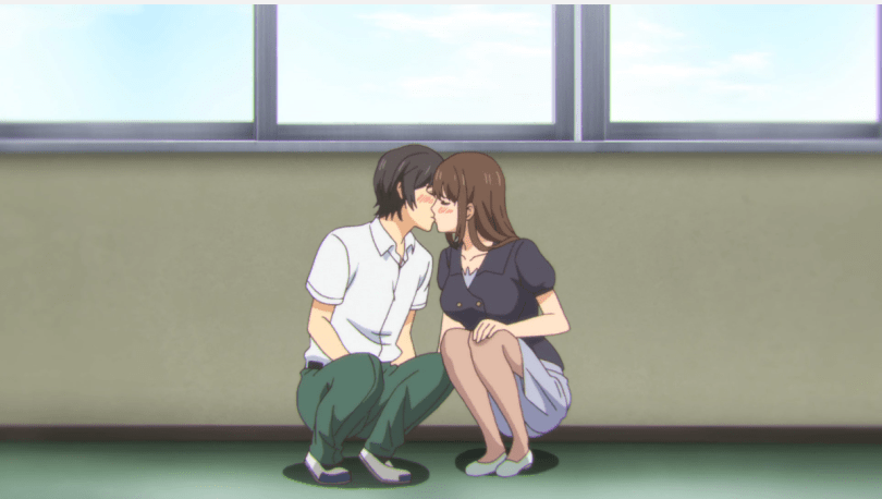 Nao and Hina crouching under a school window to kiss