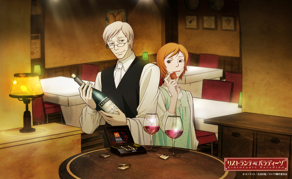 promo image of the two leads from Ristorante Paradiso tasting wine and chocolate