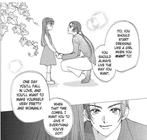 Young Rin being told by her mother that someday she'll find a boy she likes and want to be feminine for him