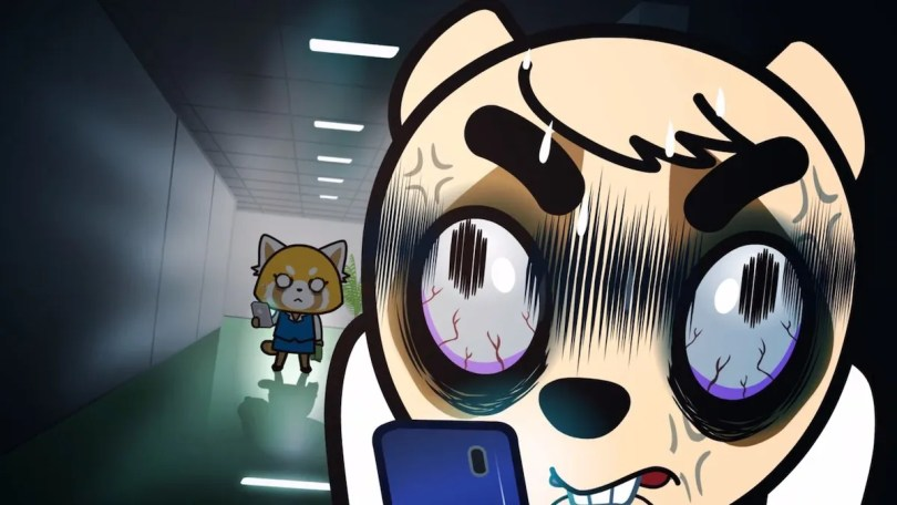 Anai, wearing an expression of exagerrated rage, looks at his phone while Retsuko watches him from down the hall, looking angry
