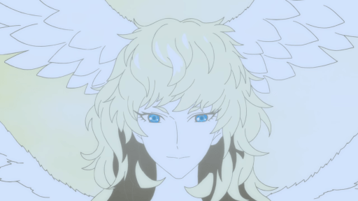A blonde haired effiminate face wreathed with feathered wings