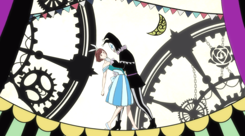 A teen girl in a blue dress and rabbit ears is dipped in the arms of a figure wearing an all-black pierrot costume. Gears and circus imagery cut the frame behind them.
