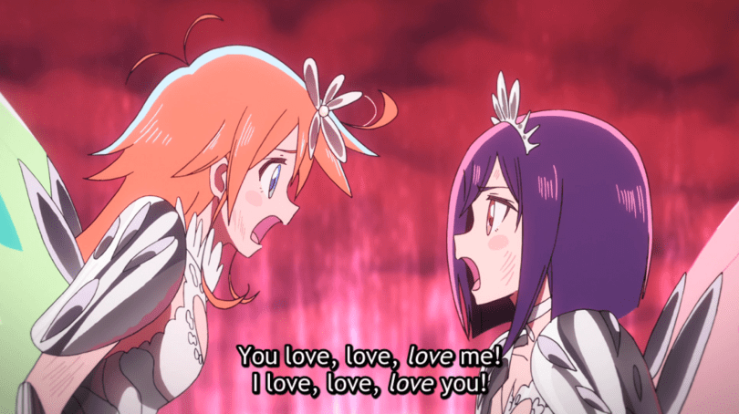 """Cocona and Papika, in magical girl attire, shout """"You love love LOVE me! I love love LOVE you!"""""""