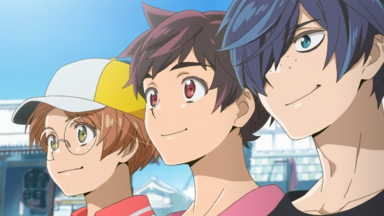 The main trio of Sarazanmai smile into the distance