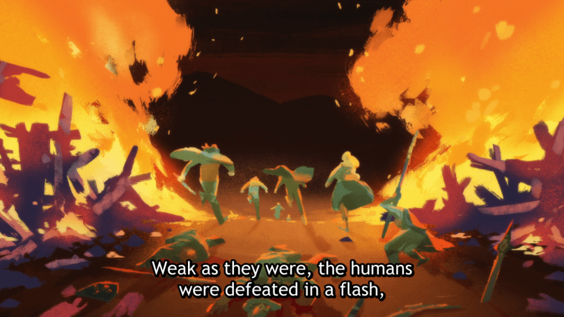 """Painted image of humans fleeing into the night with columns of fire raging to either side of them. Subtitles read """"Weak as they were, the humans were defeated in a flash"""""""