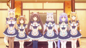 Six catgirls in maid outfits stand in a line, smiling