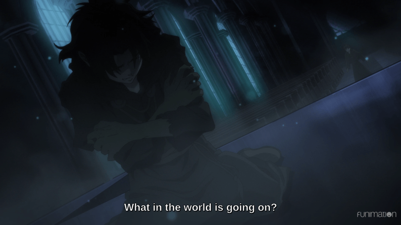 "A shadowy image of a person crouched on the ground in a ballroom. Subtitles read ""What in the world is going on?"""