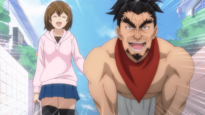 A naked man (Nobunaga) walks on all fours as a young woman leads him on a walk.