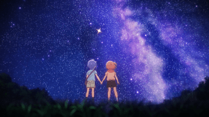 young Ao and Mira holding hands and looking at the stars