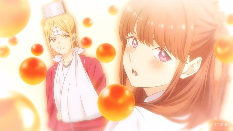 A blushing Maina looking away from a banged-up Eripiyo