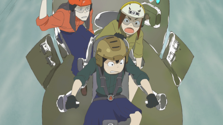 the three girls in the cockpit of an aircraft trying to pilot