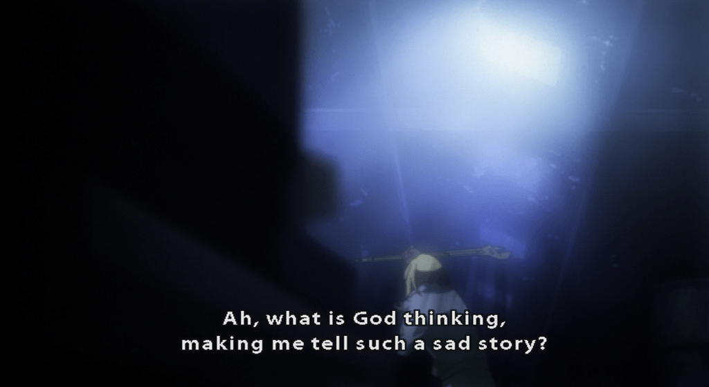 Graham from Baccano! subtitle: Ah, what is God thinking, makimg me tell such a sad story?