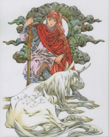 Youko on a throne holding a sword, with Keiki in his kirin form at her feet