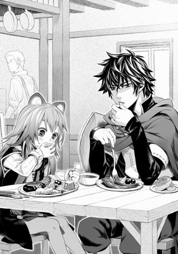 Naofumi sitting at a table and eating with a young Raphtalia