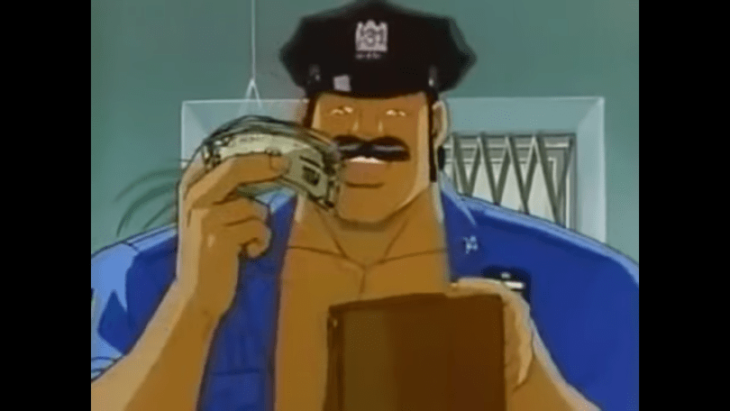 A cop (Sleepy) takes a wad of cash from a purse.