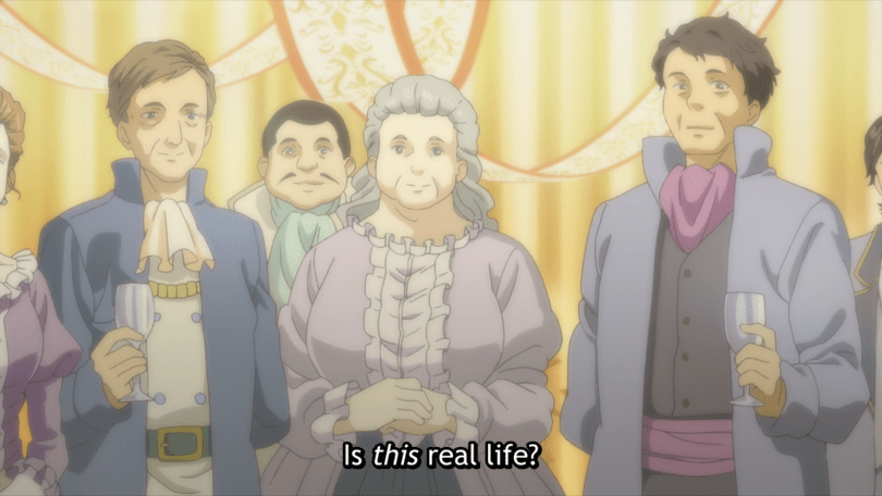 """A group of people wearing 18th-century European clothing. Subtitles read """"Is this real life?"""""""