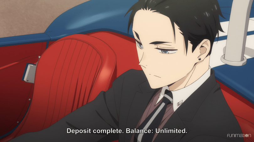 "Kambe sits in a convertible looking serious. Subtitles read ""Deposit complete. Balance: Unlimited."""
