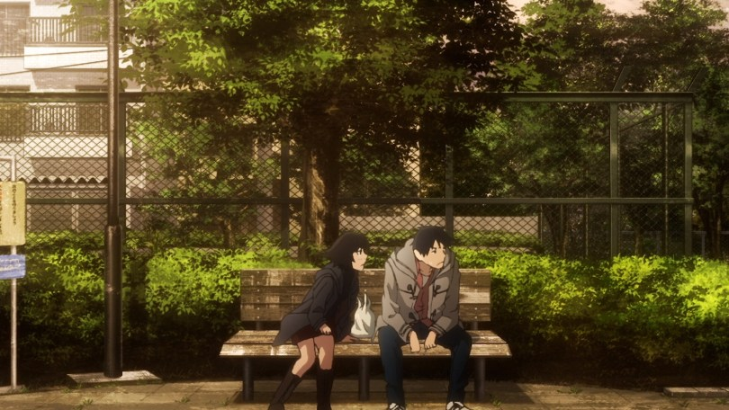 Rikuo and Haru on a bench, with Rikuo looking away as Haru leans toward him