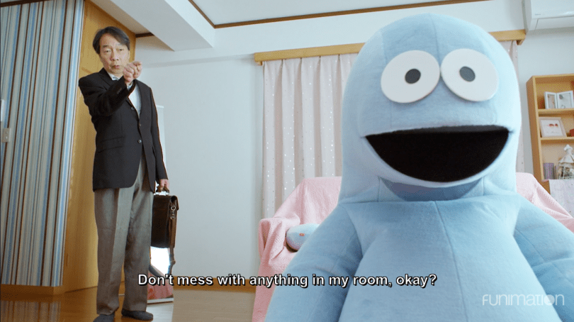 live action of a mascot dino and an older man. subtitle: don't mess with anything in my room, okay?