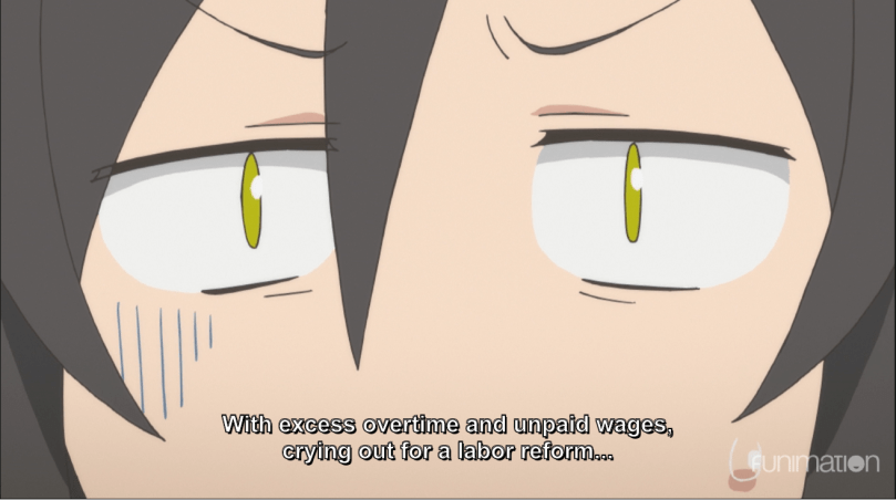 Close up of Minato, distressed. subtitle: With excess overtime and unpaid wages, crying out for a labor reform.