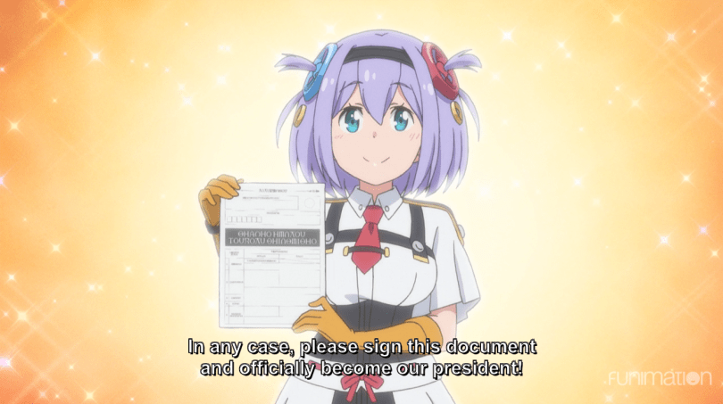 A girl holding up a piece of paper. subtitle: In any case, please sign this document and officially become our president!