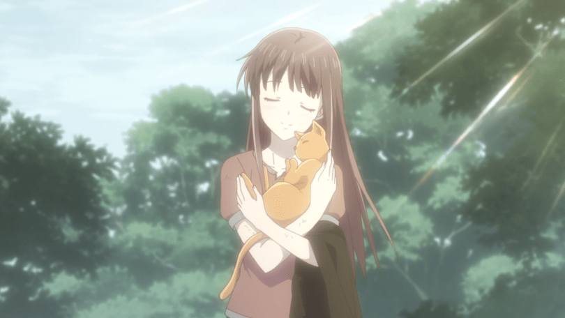 Tohru standing and holding Kyo in his cat form