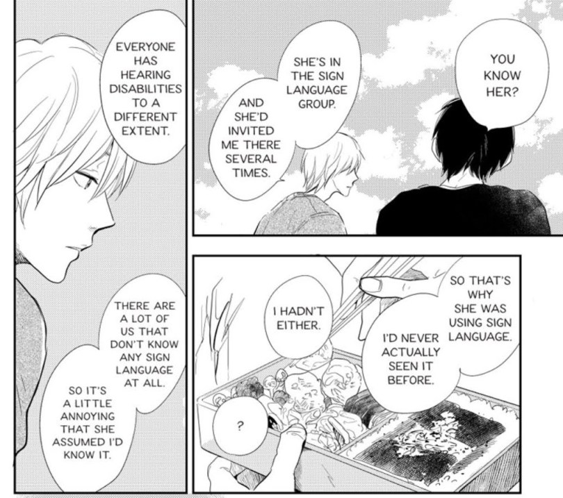 Kouhei discussing a girl who'd used sign language to talk to him assuming he'd know it, when he doesn't.