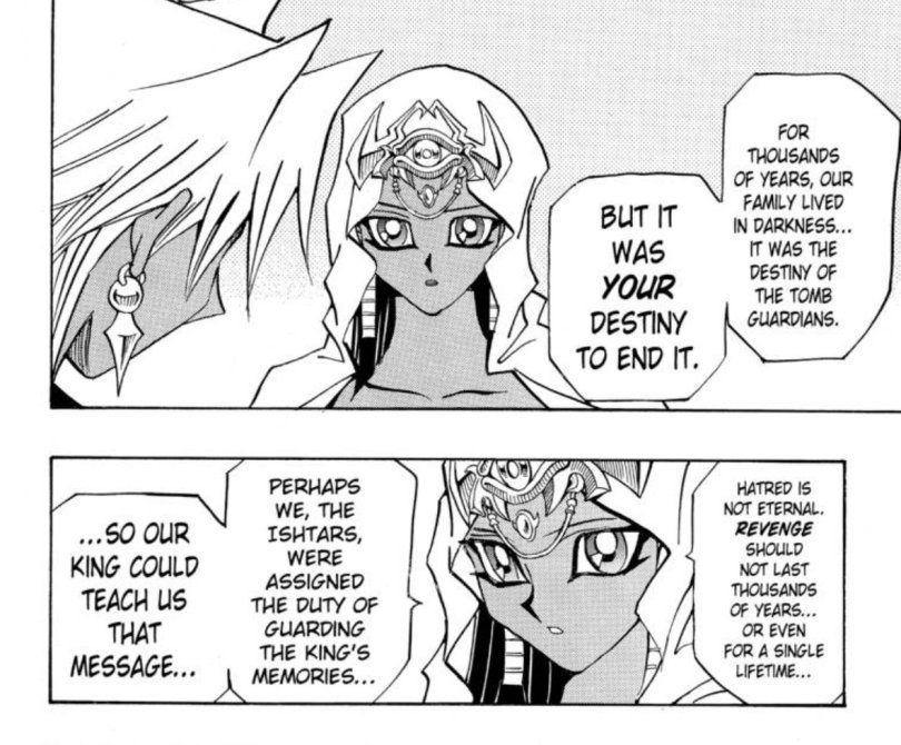 Marik's sister Ishizu delivering the moral that he was meant to rebel so that the Pharaoh could teach them revenge is wrong