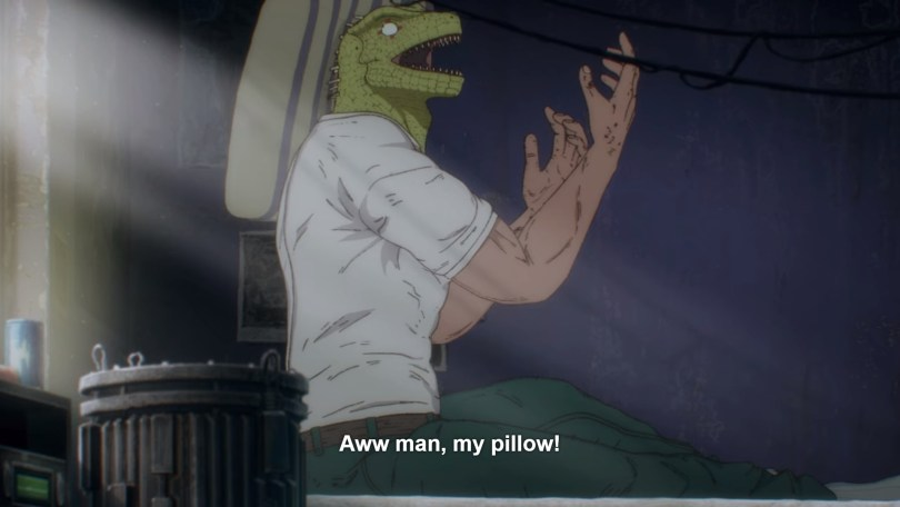 """Lizard-headed man sitting up in bed with a pillow stuck to his head. Text: """"Aww man, my pillow!"""""""
