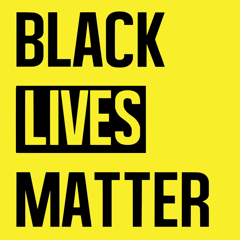"black text on a yellow background reading ""Black lives matter"""
