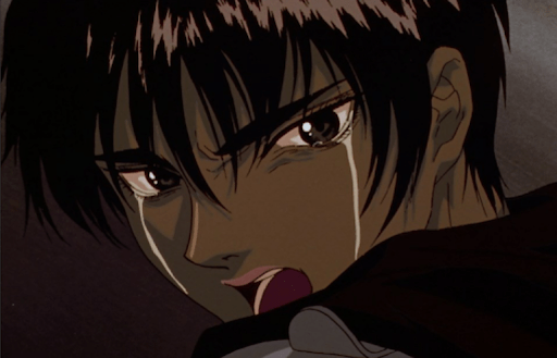 close-up of Casca angrily crying