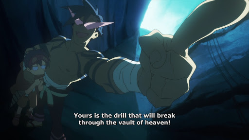 Kamina pointing dramatically upward. subtitle: Yours is the drill that will break through the vault of heaven!