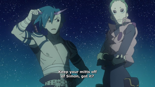 Kamina raising an eyebrow at Leeron. Subtitle: Keep your mitts off of Simon, got it?