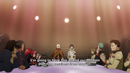 Simoun introducing Beastman Viral at a meeting. subtitle: I'm going to have him attend our mission planning sessions from now on.