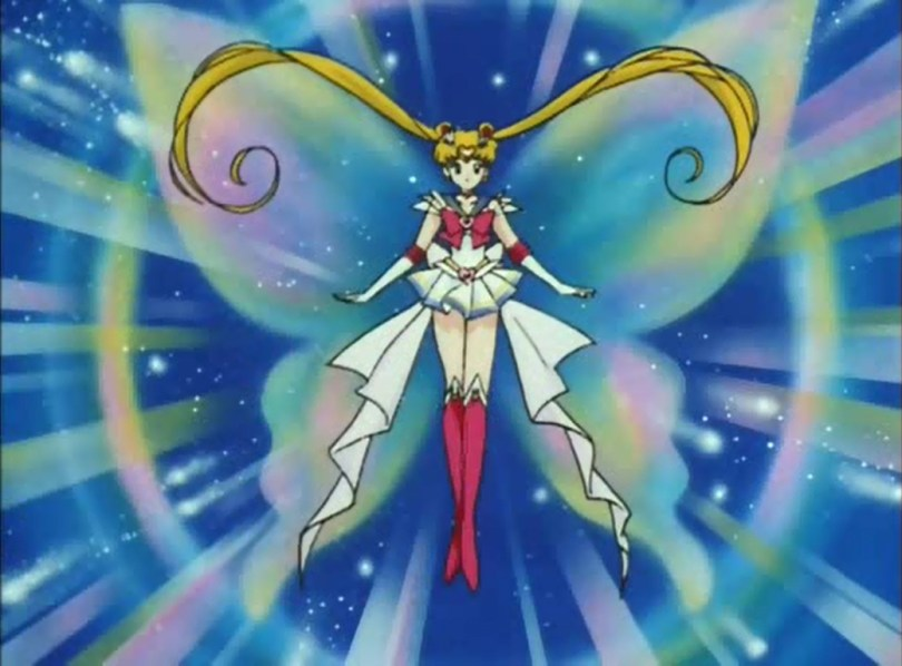 Sailor Moon in her rainbow Super-S transformation pose