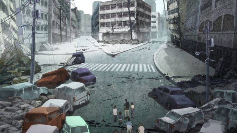 This image shows a destroyed Tokyo street. Cars litter the area, and the surrounding buildings are ruined. Some of the buildings are tilting dangerously out of place. At the bottom of the picture, a group of survivors look at the fork in the road ahead of them.