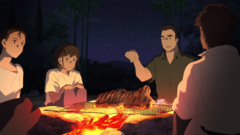This image shows the Muto family sitting around a makeshift barbeque grill. On the grill is a slab of boar meat. Muto Koichiro, Ayumu's father, seasons it. Ayumu looks pensive, and a little sick to her stomach.
