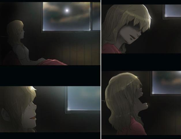 four image composition of Rachel laughing, her eyes in shadow