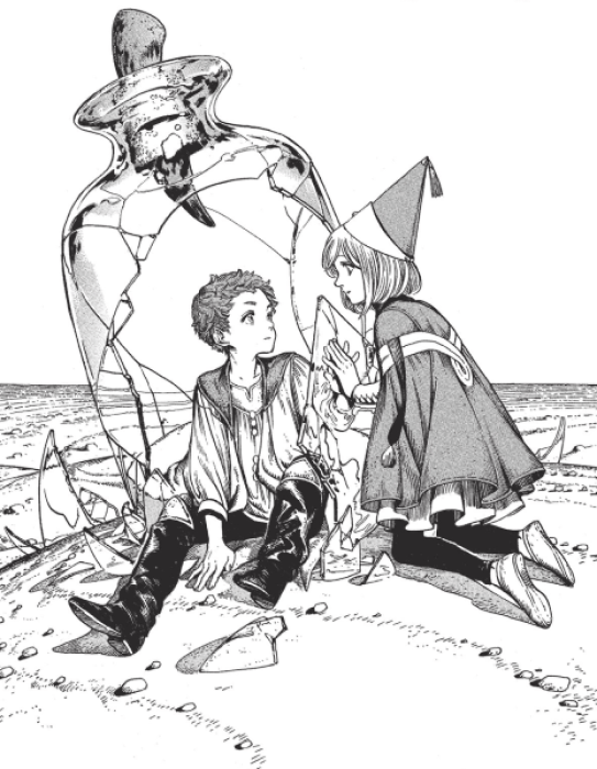 Tartah sits inside a broken glass vial. He puts a hand up to one of the remaining glass shards diving him from the outside. Coco kneels on the other side, putting her hand to the other side of the glass. They look at each other carefully.