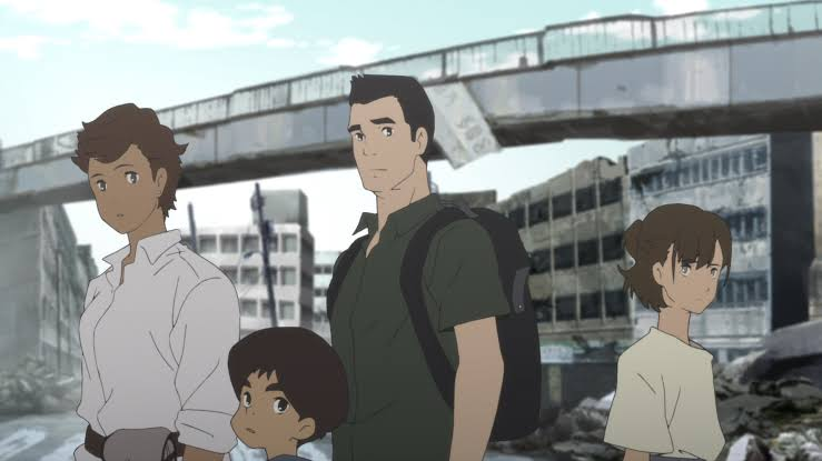 This image shows the Muto family standing in front of a destroyed are  of Tokyo. In the background are ruied buildings, a bridge, and rubble. The characters look a bit forlorn. as they sae characters all look