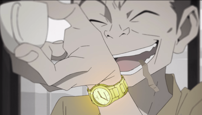 Kudou showing off his expensive gold watch.
