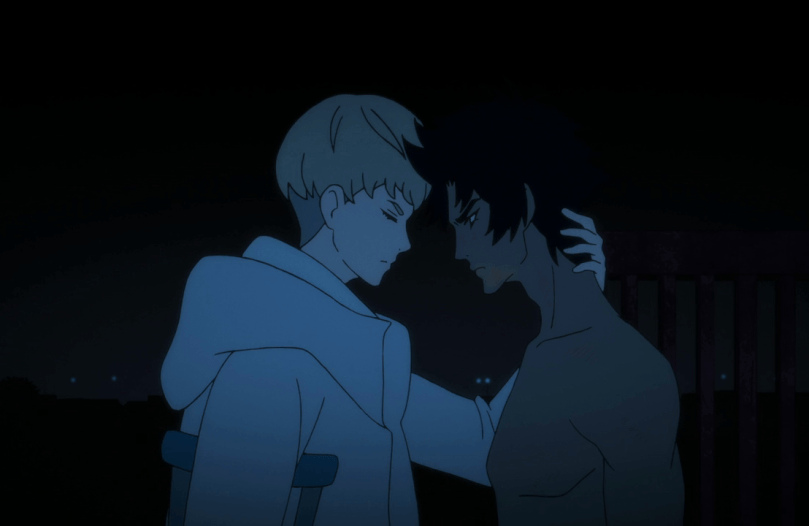 a young blond man in a white coat reaching around to place a hand on his dark-haired companion's neck; Ryo and Akira from Devilman crybaby