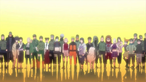 the heroes of Naruto Shippuden standing in a line