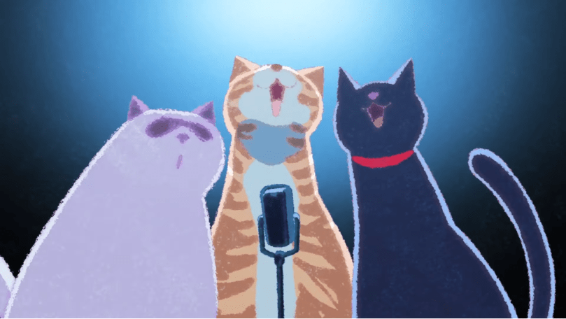 Three cats singing to an old-fashioned microphone