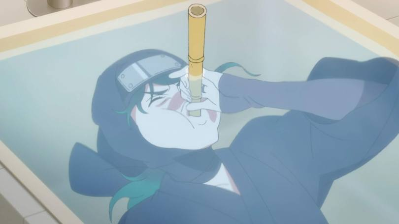 Leo in full ninja gear, submerged in a bath tub, using a reed to breathe